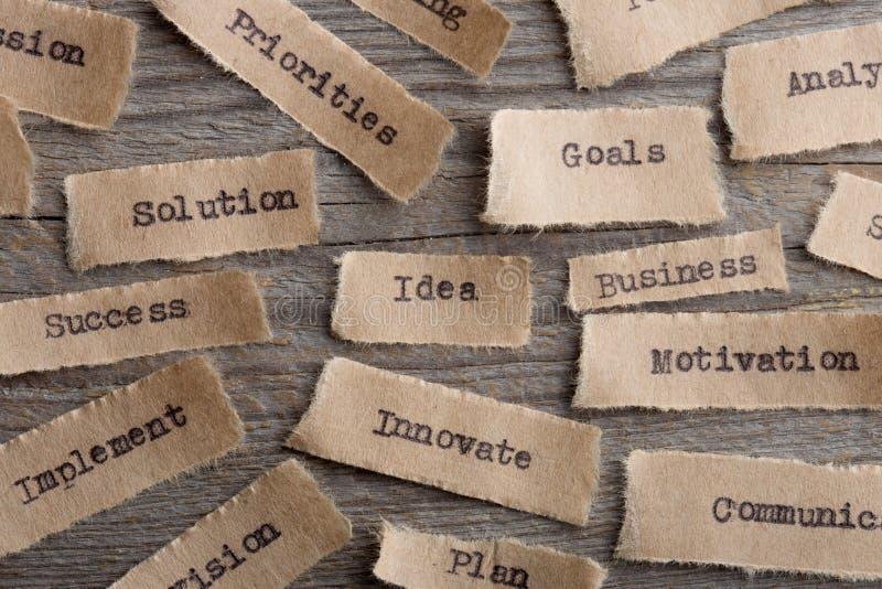Idé - ord på ett stycke av pappersslut upp, idérikt motivationbegrepp för affär royaltyfri fotografi