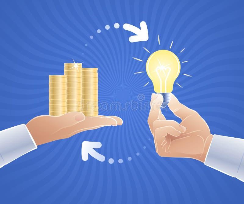 Idé som är till salu/idé för pengar stock illustrationer