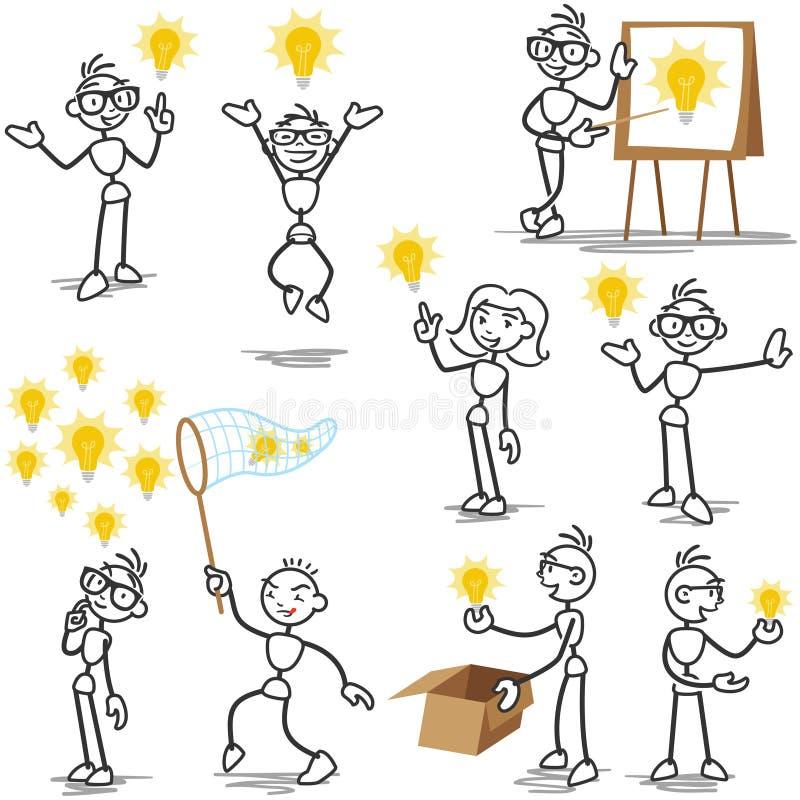 Idé Stickman för ljus kula som är idérik vektor illustrationer