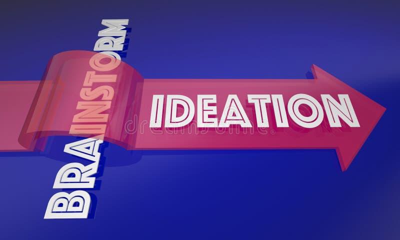 Idéation contre le nouveau processus d'échange d'idées illustration de vecteur