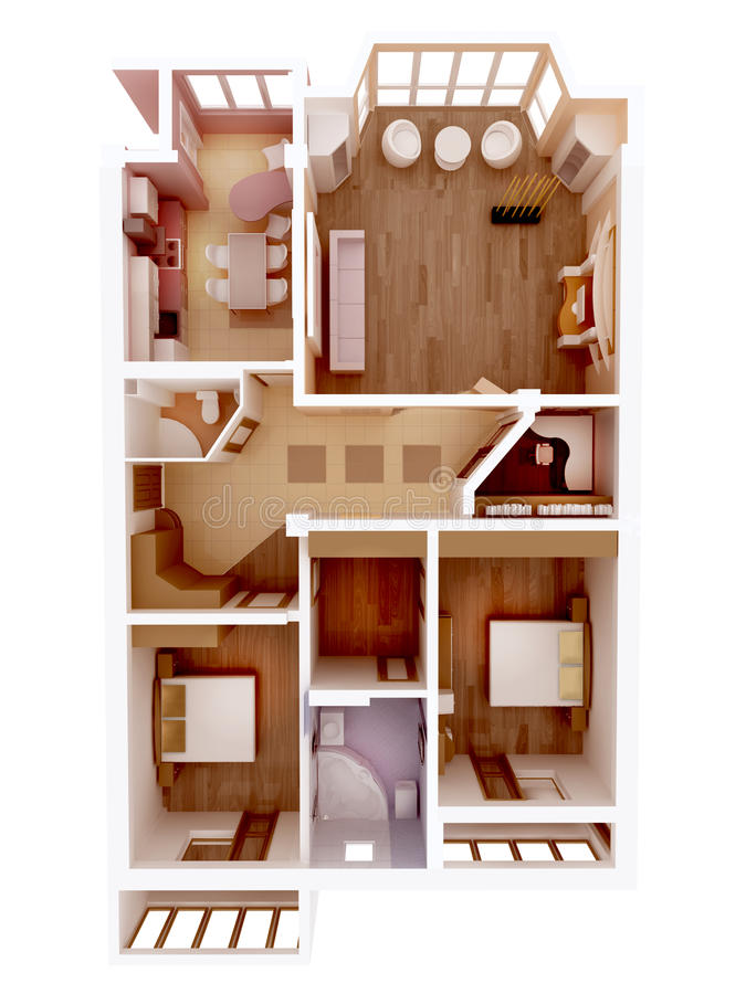 Id e claire d 39 int rieur de plan d 39 tage de l 39 appartement for Conception 3d appartement