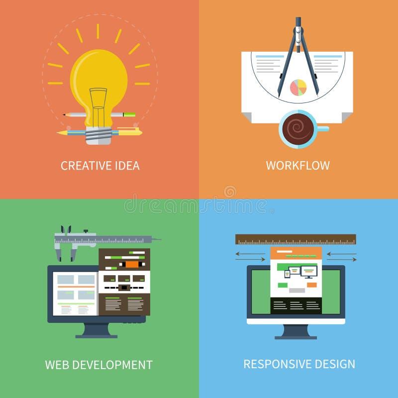Idée, conception, développement de Web, icônes de déroulement des opérations réglées illustration stock