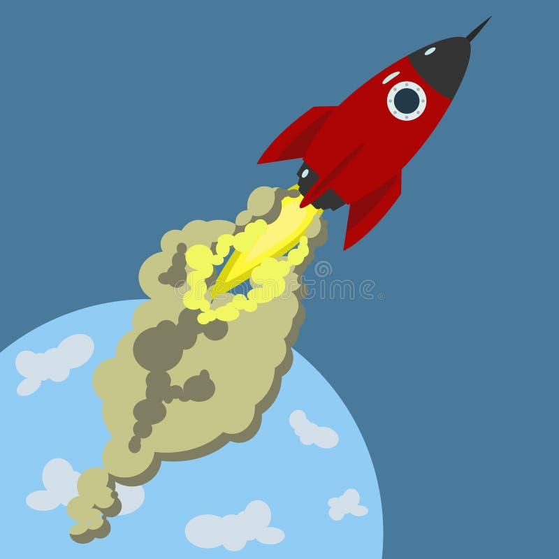 Idée créative d'espace de fusée d'art de démarrage de lancement Illustration de vecteur illustration de vecteur