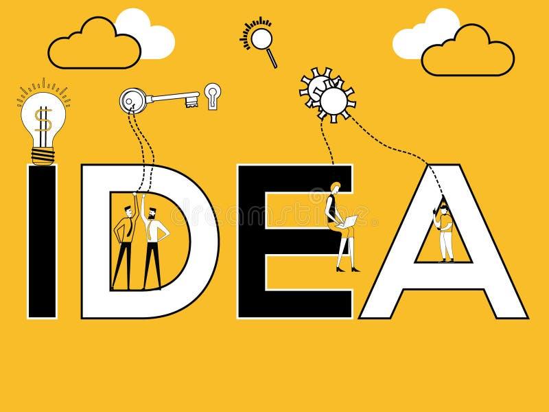 IDÉE créative et personnes de concept de mot faisant des choses multiples illustration libre de droits
