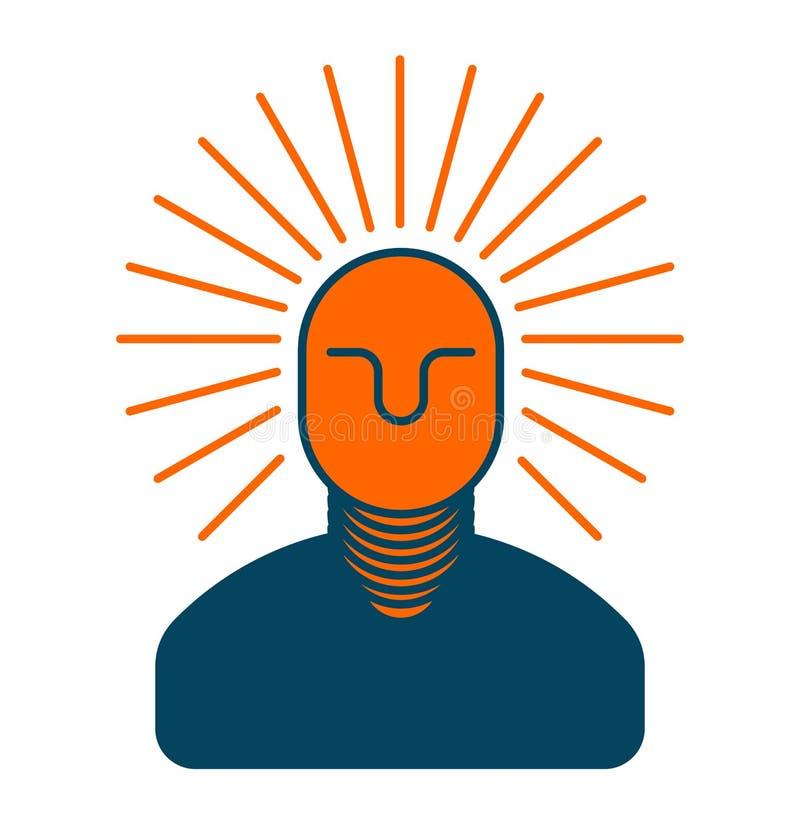 idée créatrice Bossage intelligent homme avec l'ampoule dans sa tête prison illustration libre de droits