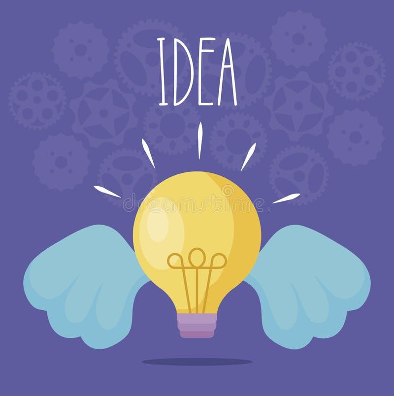 Idée d'ampoule avec des ailes illustration de vecteur