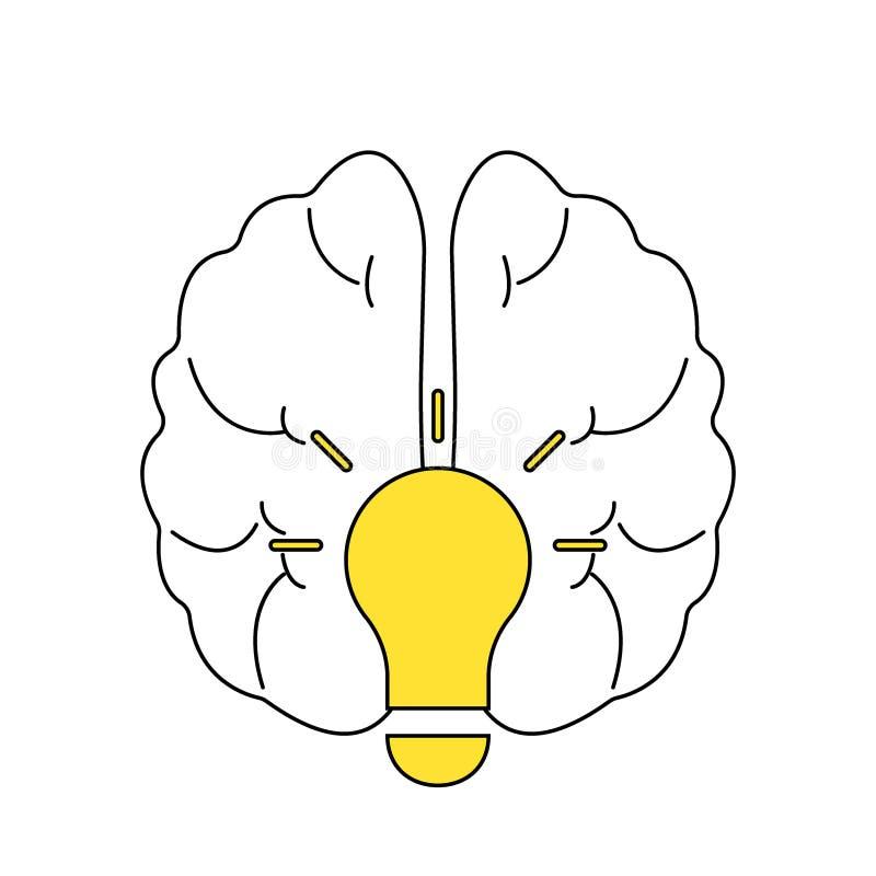 Idée d'ampoule avec le calibre de logo de vecteur de cerveau Icône d'entreprise telle que le logotype Vecteur créatif de cerveau  illustration stock