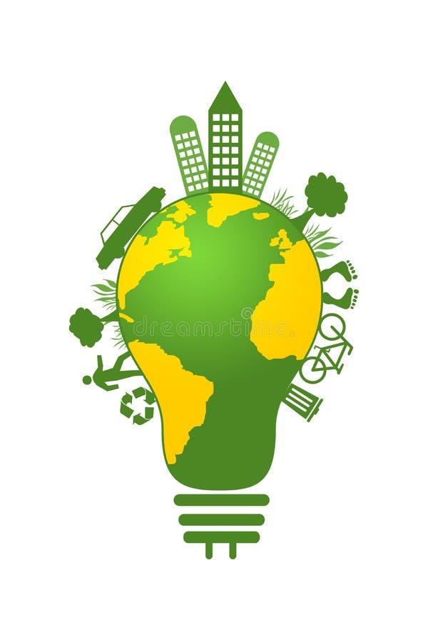 Idée d'ampoule d'illustration de la terre d'économies de concept d'écologie illustration stock