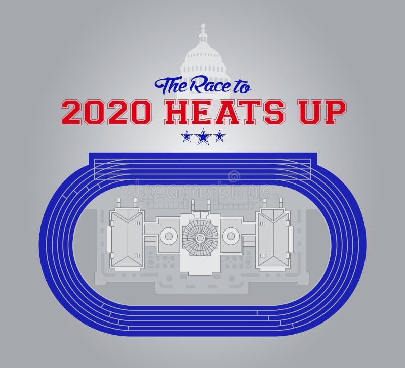 Idée d'illustration de la voie d'athlétisme de course combinée avec Capitol Hill pour les élections présidentielles des USA 2020 illustration de vecteur