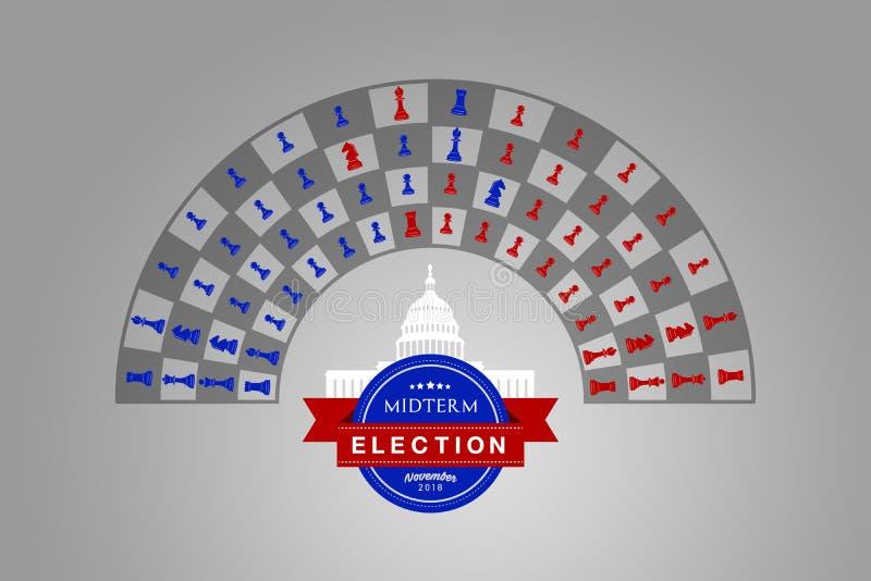 Idée d'illustration pour les ches à moyen terme d'élection des USA de novembre 2018 illustration stock