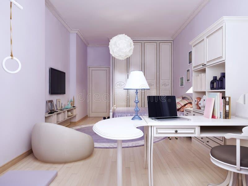 Idée de chambre à coucher de la Provence avec l'emplacement de travail photos libres de droits