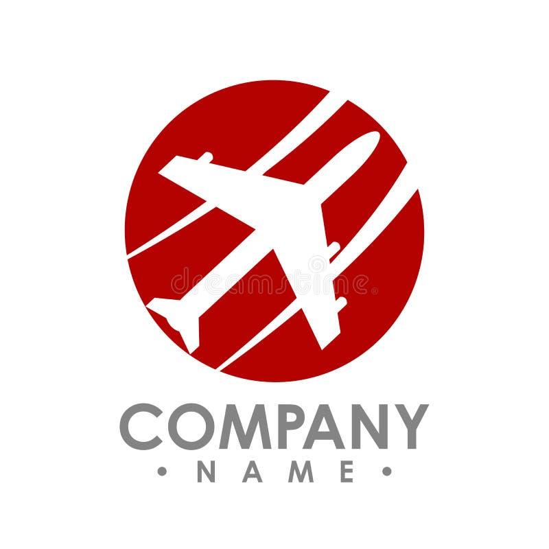 Idée de conception de logo d'agence de voyages avec l'avion dans l'espace négatif illustration stock