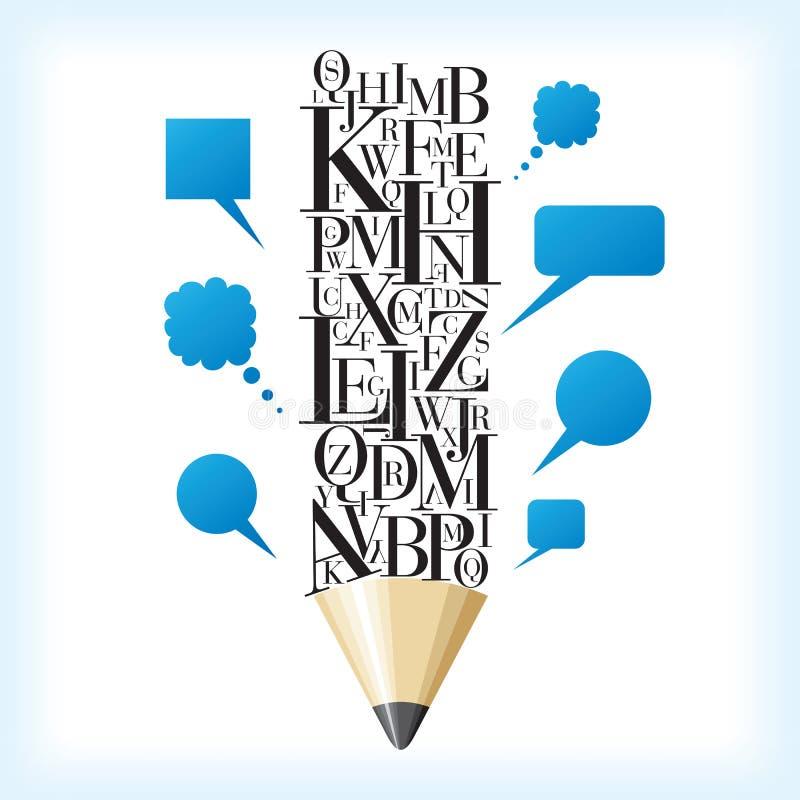 Idée de crayon et de parole illustration de vecteur