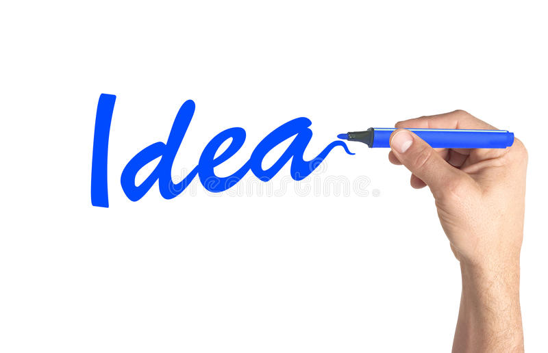 Idée de mot d'écriture de main sur le conseil transparent photo libre de droits