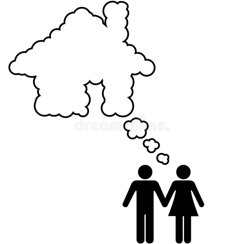 Idée de propriétaire de logement d'action de couples de Chambre rêveuse illustration de vecteur