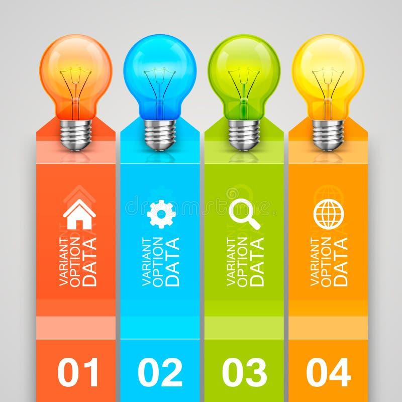 Idée des ampoules dans le diagramme illustration stock