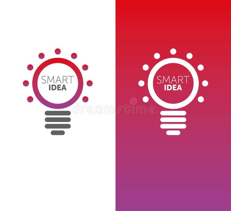 Idée futée de LOGO logotype d'ampoule de vecteur gradient de 2 couleurs forme de cercle illustration de vecteur