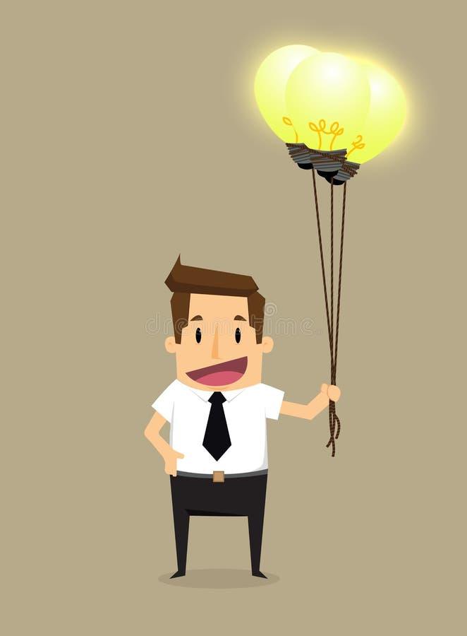 Idée lumineuse d'homme d'affaires illustration stock