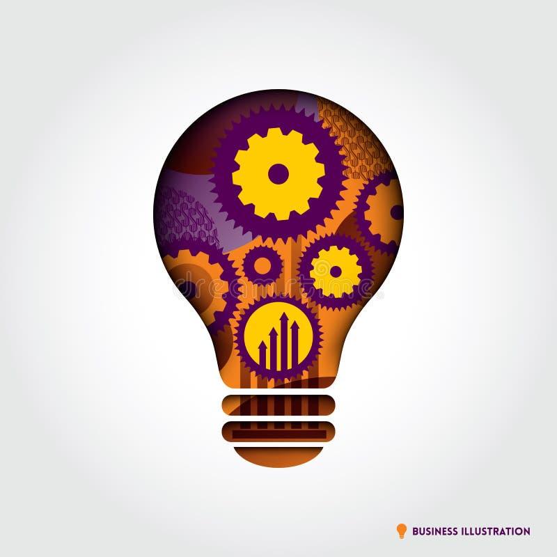 Idée minimale Conce d'affaires de forme d'ampoule de style illustration libre de droits