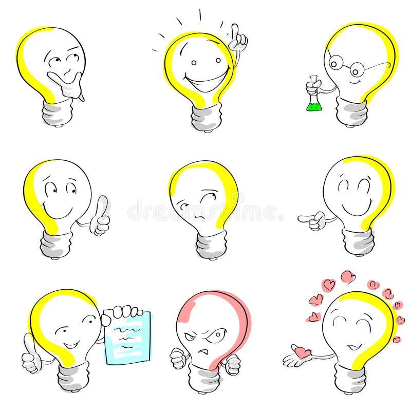 Idée réglée d'aspiration de main de croquis de bande dessinée d'ampoule illustration stock