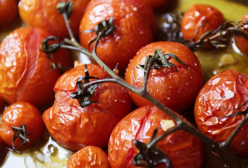 Idée rôtie de recette de photographie de nourriture de tomotoes de cerise images libres de droits