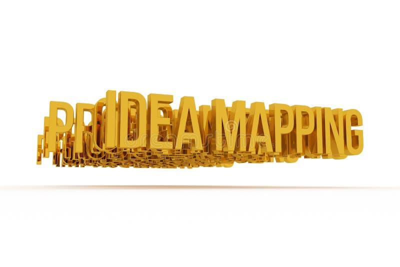 Idée traçant, mots 3D d'or conceptuels d'affaires Illustration, typographie, positif et conception illustration de vecteur