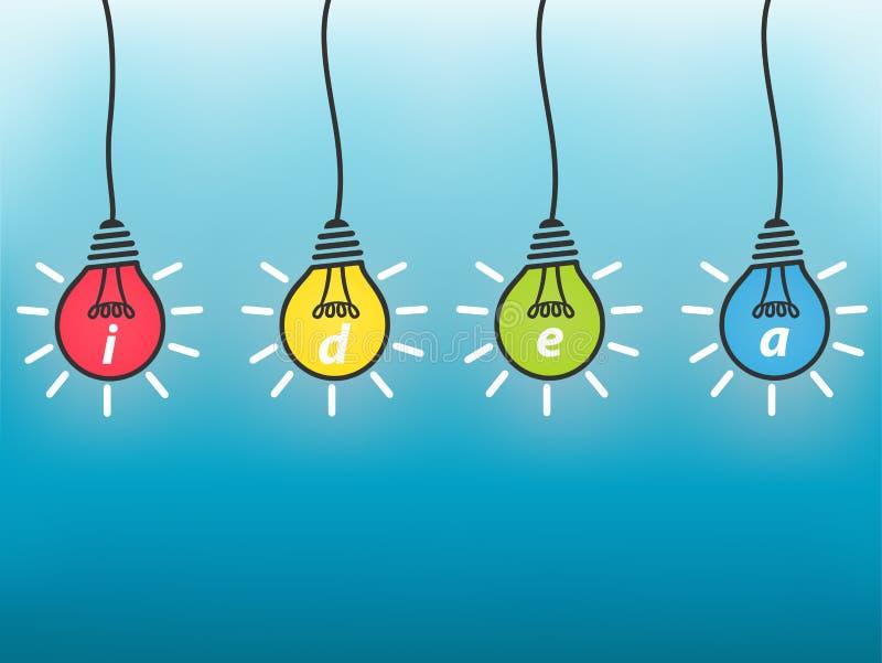 Idée un concept d'affaires, ampoule colorée illustration stock