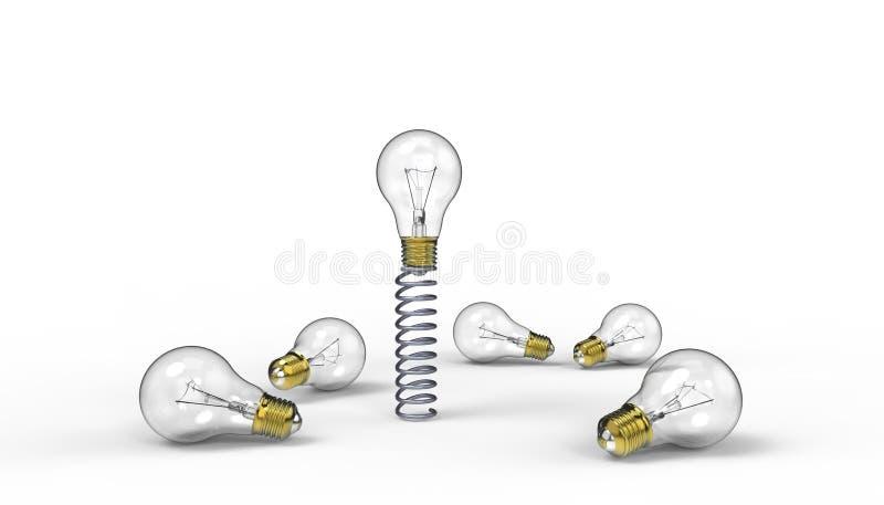 Idéer och inspirationljuskulor med kreativiteten av en exotisk idéledare på isolerat på vit bakgrund stock illustrationer
