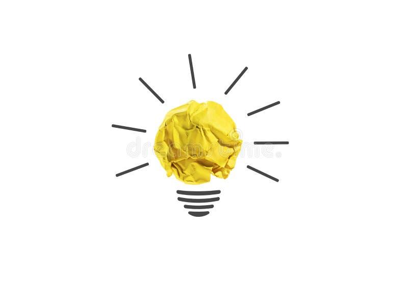 Idées avec l'ampoule de boule chiffonnée par papier jaune photos libres de droits