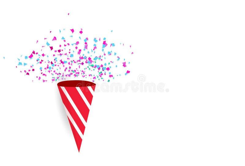 Idées de milieux de confettis de célébration avec les explos de papier de dispersion illustration de vecteur