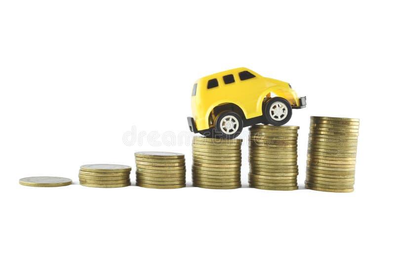 Idées de voiture et d'argent pour s'enregistrer sur le fond blanc images stock