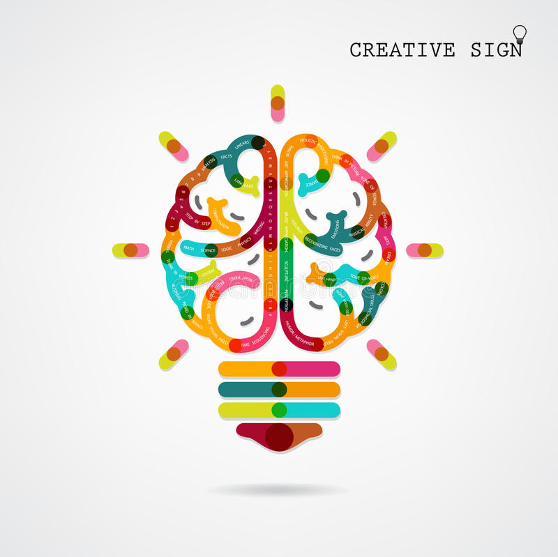 Idées gauches et droites de fonction de cerveau d'infographics créatif sur le CCB illustration de vecteur