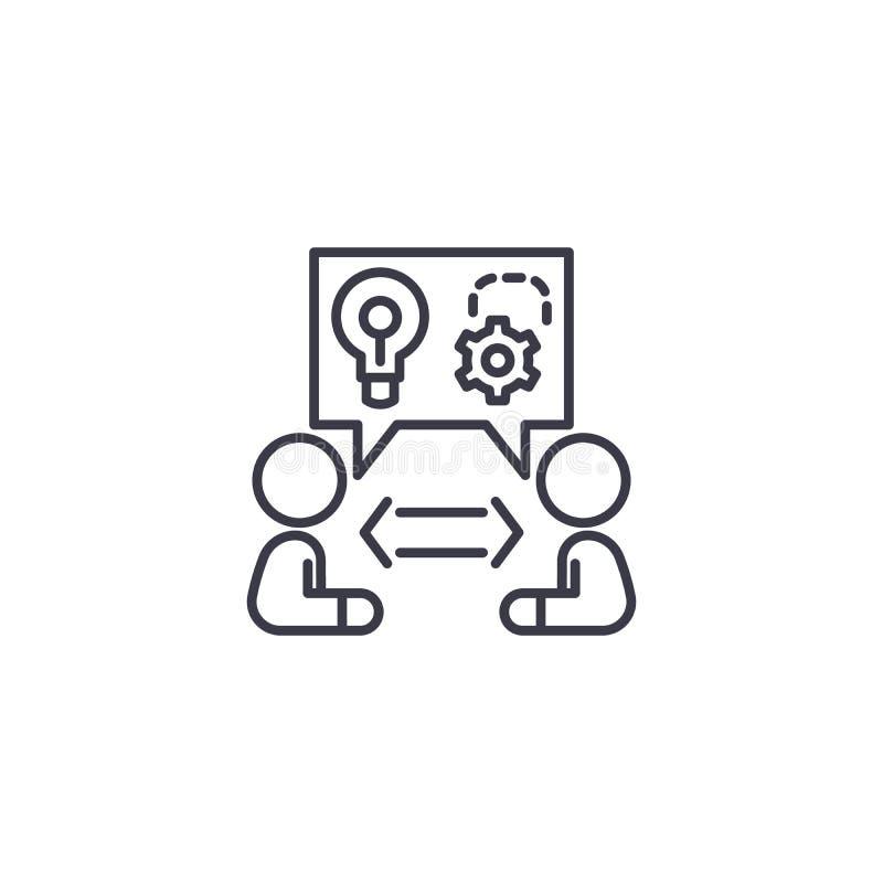 Idées partageant le concept linéaire d'icône Les idées partageant la ligne vecteur signent, symbole, illustration illustration libre de droits