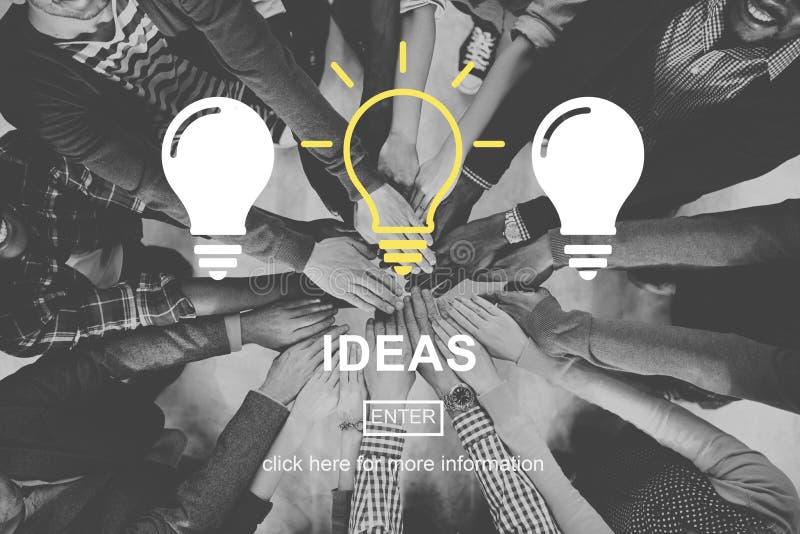 Idées pensant le concept d'échange d'idées de vision de pensées photos libres de droits