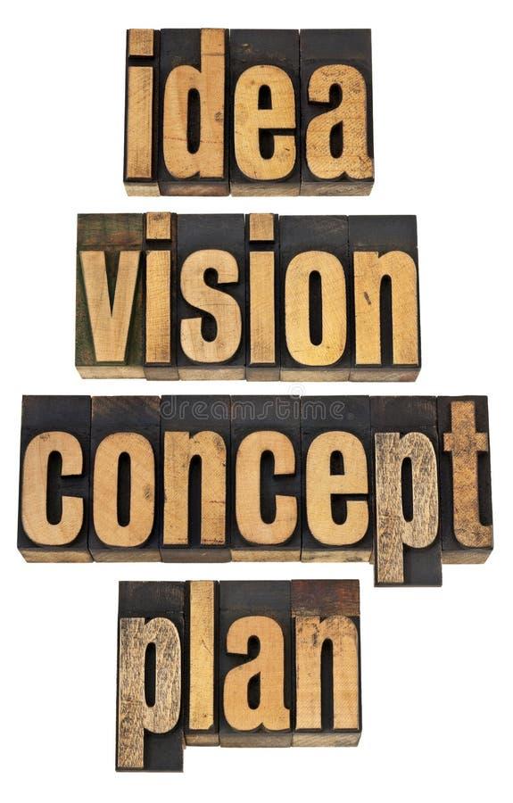 Idéia, visão, conceito e planta foto de stock