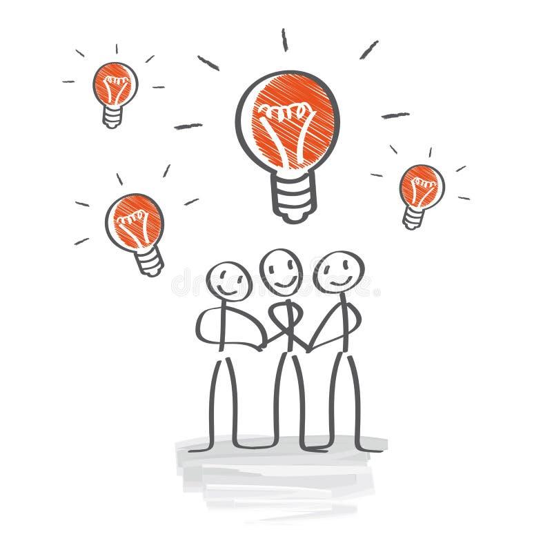 Idékläckning framkallar idéer, teamwork stock illustrationer