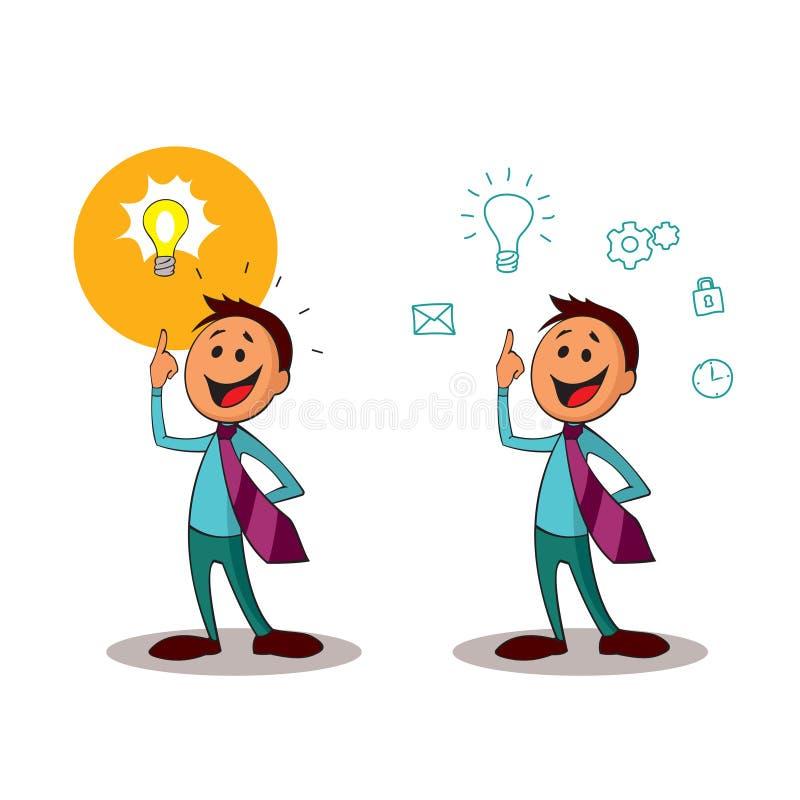idékläckning Kontorsarbetare med idén av en ljus kula En av en serie av liknande bilder stock illustrationer