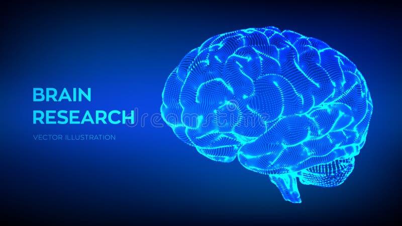 idékläckning mänsklig forskning för hjärna begrepp för vetenskap och teknik 3D neural nätverk IQ som testar, konstgjord intellige stock illustrationer