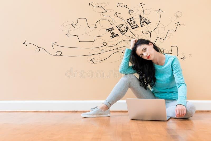 Idékläckningidépilar med kvinnan som använder en bärbar dator royaltyfria foton