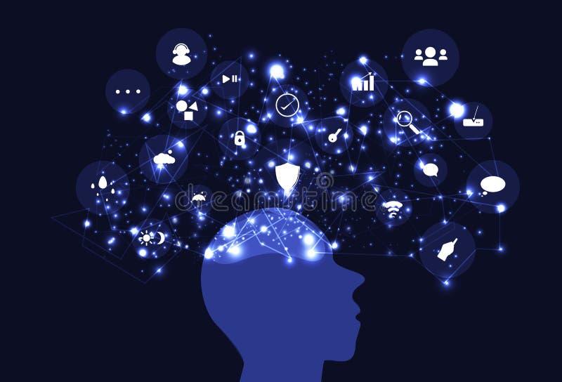 Idémening som kartlägger idérik inspiration, tänkande nätverk t för hjärna vektor illustrationer