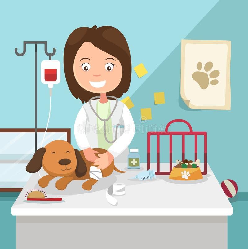 Idén av den kvinnliga veterinär- avvänjningillustrationen vektor illustrationer