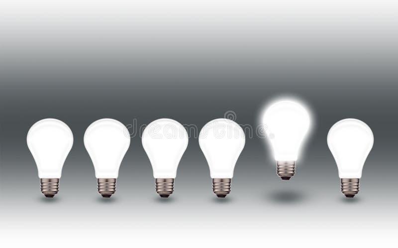 Idén av ljusa kulor glöda för kula ljus idé arkivbild