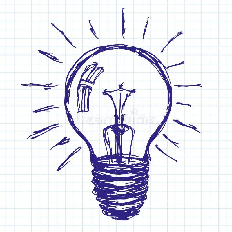 Idén skissar bakgrund med lampan stock illustrationer