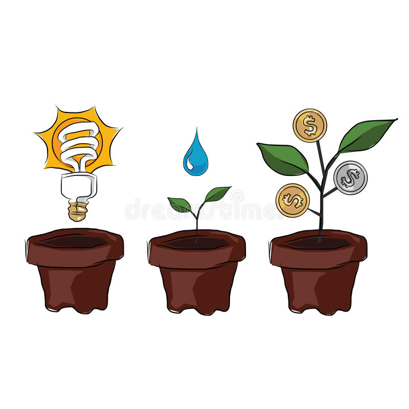 Idén som planterar kreativitet, och innovation gör pengarinvestering stock illustrationer