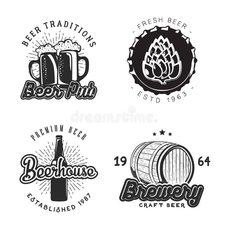 Idérik öluppsättning av logodesignen också vektor för coreldrawillustration stock illustrationer