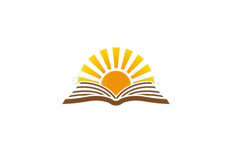 Idérik abstrakt öppen bok Sun Logo Design Vector Symbol Illustration stock illustrationer