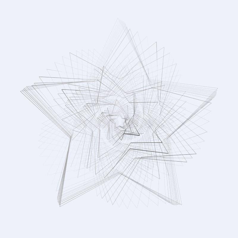 Idérik abstrakt cyklisk roterande spiral stjärna på en grå bakgrundsmodell av virvlande runt metalllinjer för design och kreativi royaltyfri illustrationer