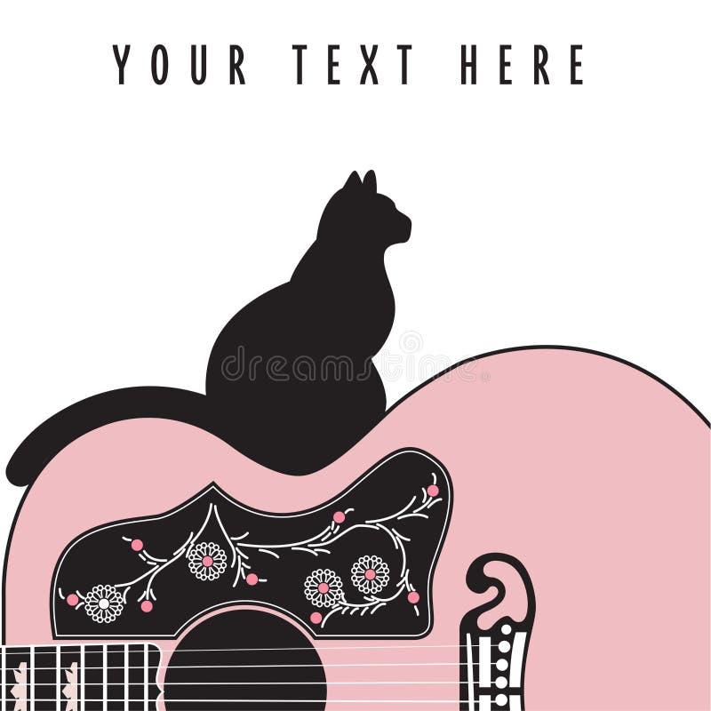 Idérik abstrakt gitarrbakgrund med en katt royaltyfri illustrationer
