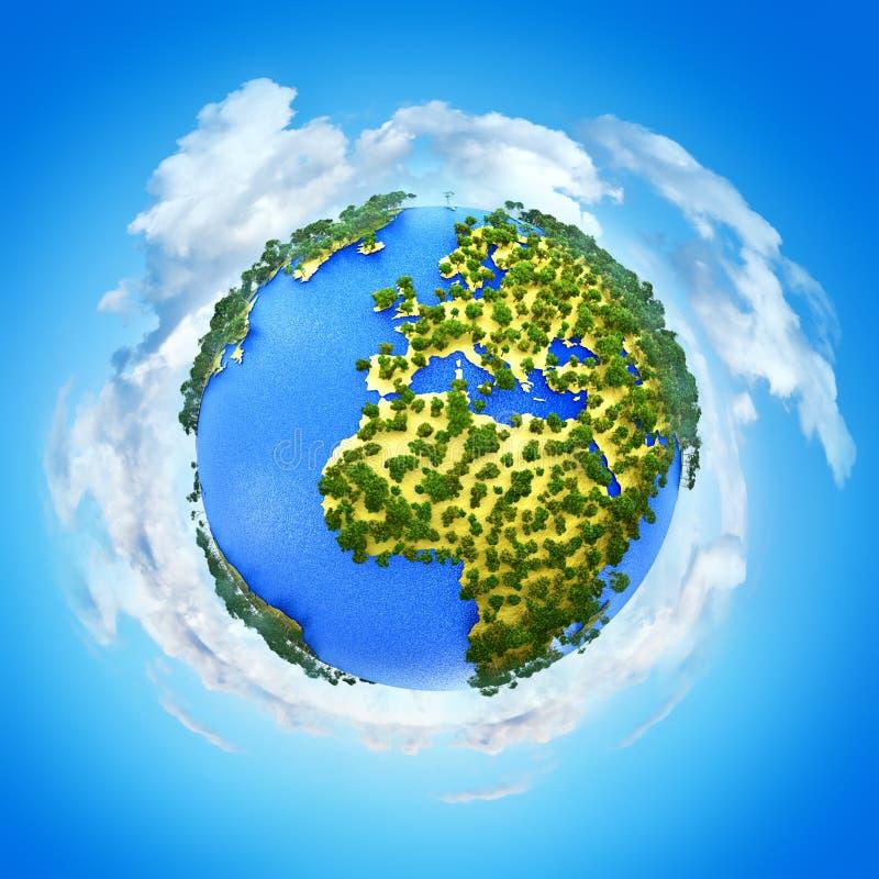 Idérik abstrakt global ekologi- och miljöskyddsaffärsidé: 3D framför illustrationen av miniatyrmini- grön jord vektor illustrationer