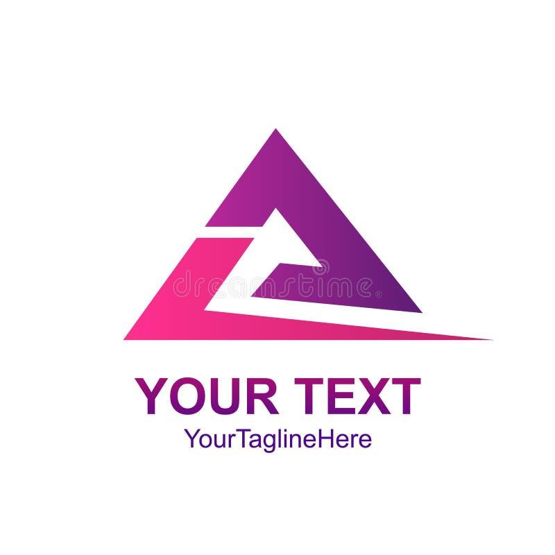 Idérik abstrakt mall el för design för logo för triangelswooshvektor stock illustrationer